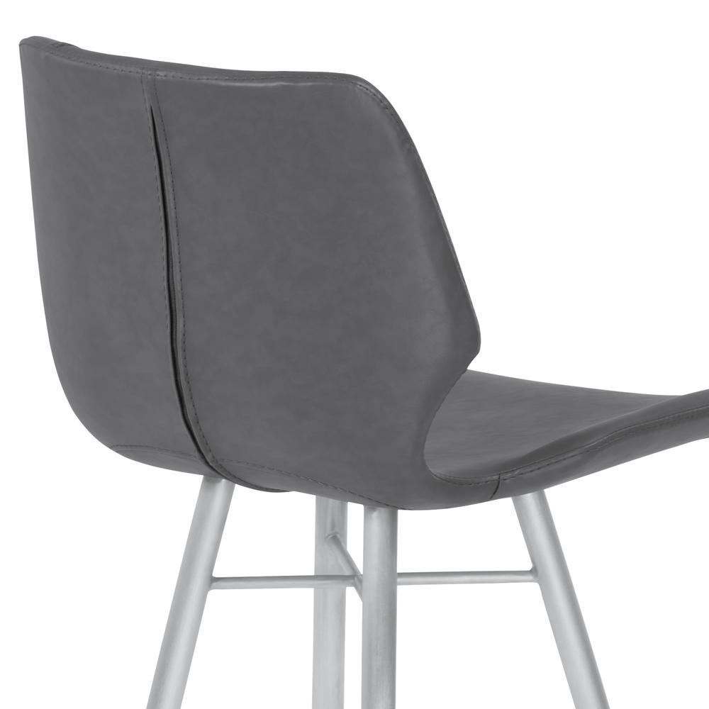 """26"""" Counter Height Metal Barstool in Vintage Gray Faux Leather with Brushed Stainless Steel Finish. Picture 5"""