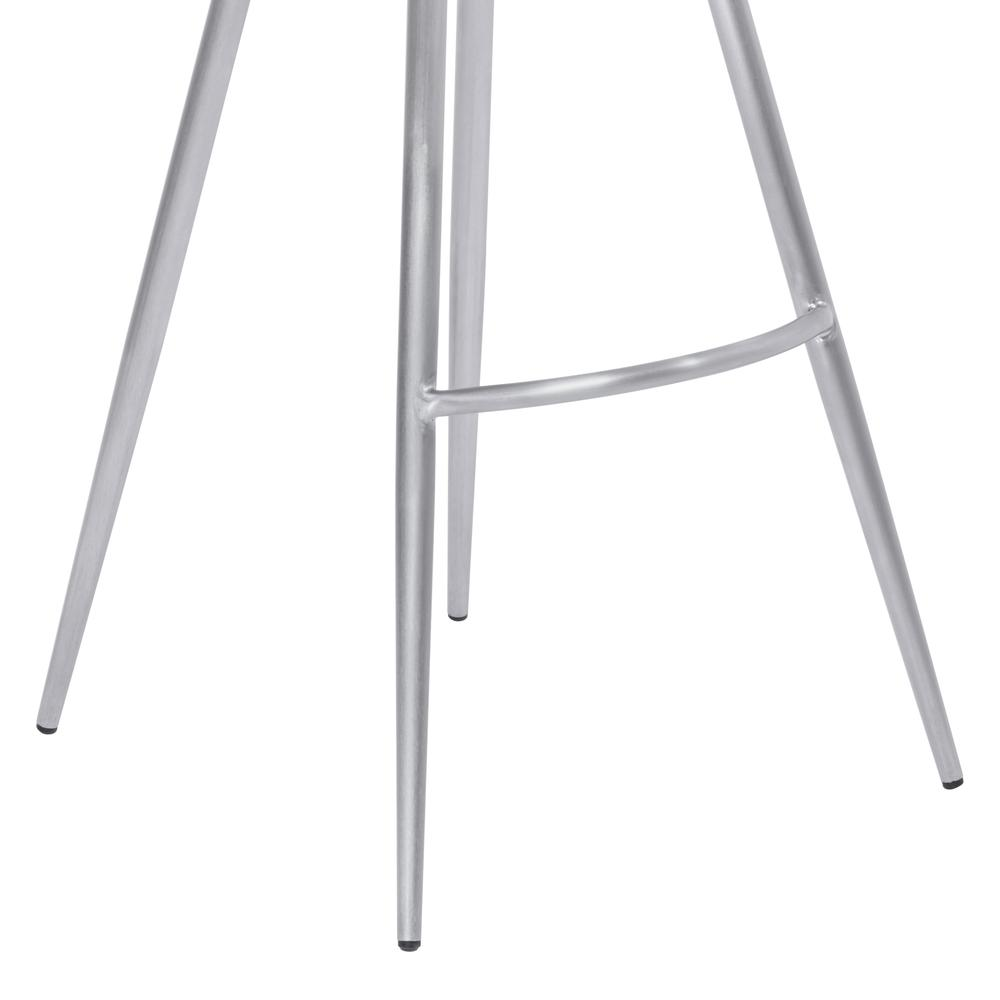 """26"""" Counter Height Metal Barstool in Vintage Gray Faux Leather with Brushed Stainless Steel Finish. Picture 6"""