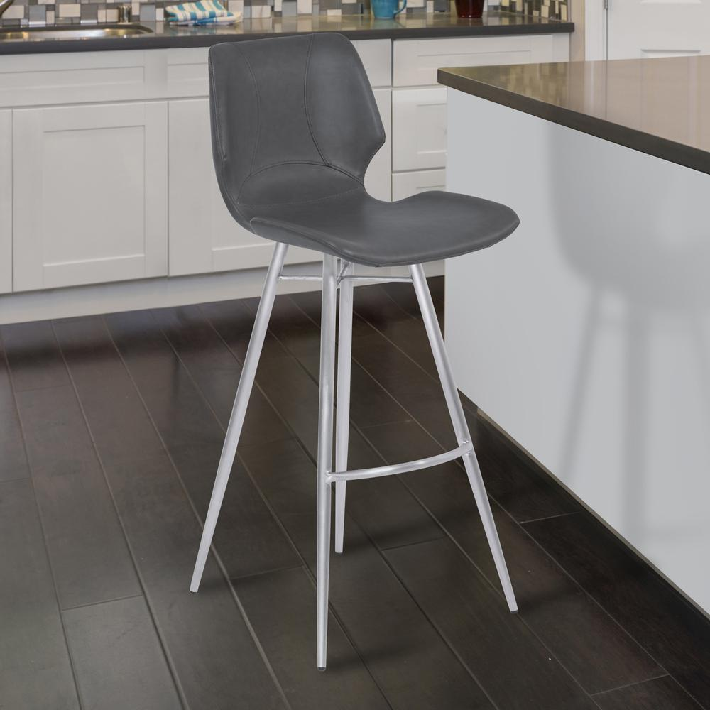 """26"""" Counter Height Metal Barstool in Vintage Gray Faux Leather with Brushed Stainless Steel Finish. Picture 7"""