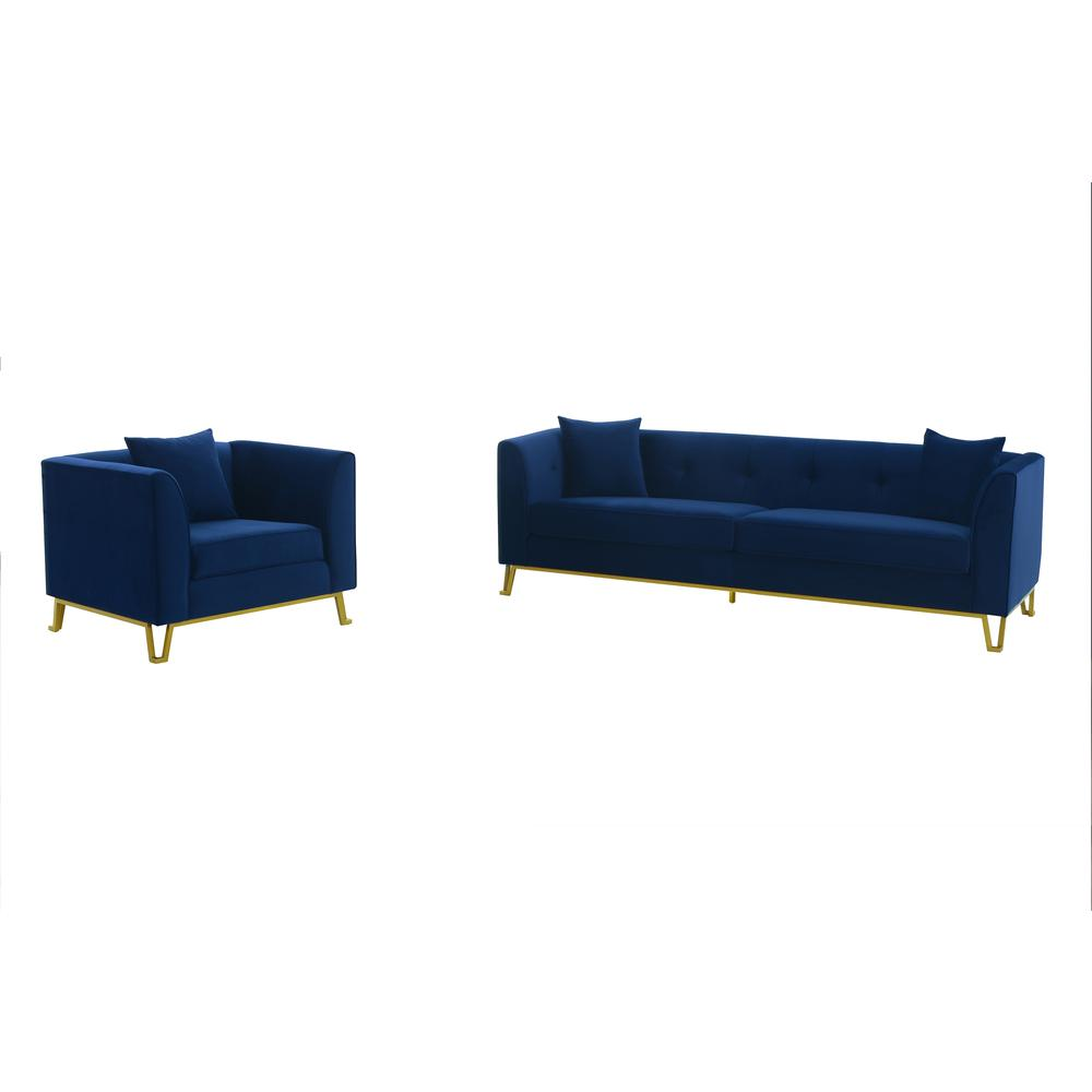Everest 2 Piece Blue Fabric Upholstered Sofa & Chair Set. Picture 1