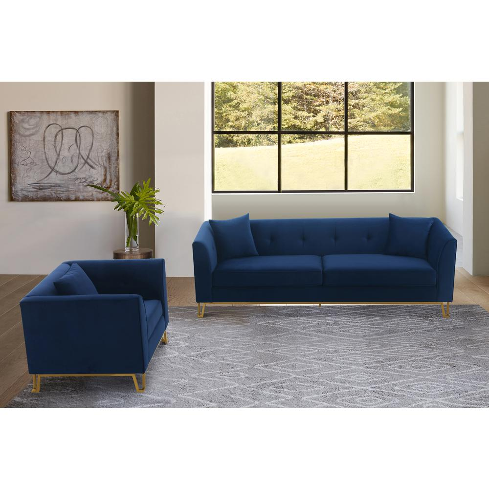 Everest 2 Piece Blue Fabric Upholstered Sofa & Chair Set. Picture 2