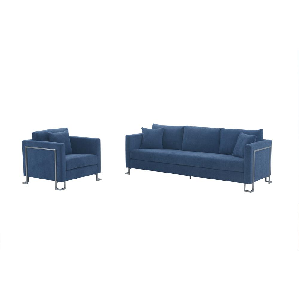 Heritage 2 Piece Blue Fabric Upholstered Sofa & Chair Set. Picture 1