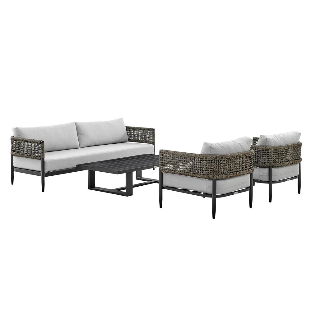 Alegria 4 Piece Outdoor Black Aluminum & Rope Conversation Set with Light Gray Fabric Cushions. Picture 1