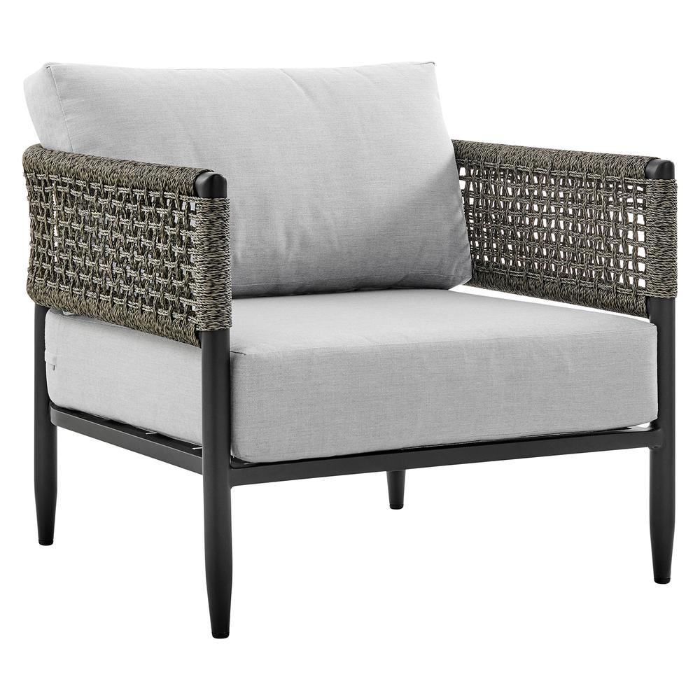 Alegria 4 Piece Outdoor Black Aluminum & Rope Conversation Set with Light Gray Fabric Cushions. Picture 4