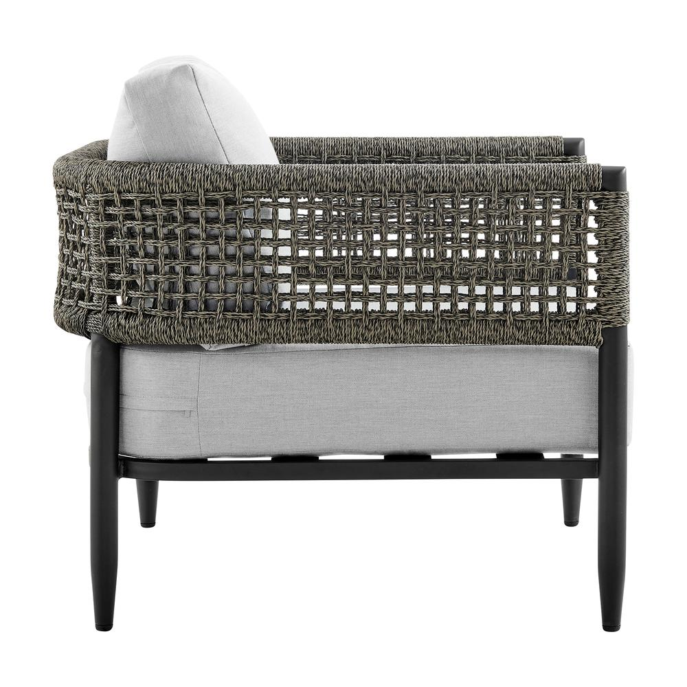 Alegria 4 Piece Outdoor Black Aluminum & Rope Conversation Set with Light Gray Fabric Cushions. Picture 5