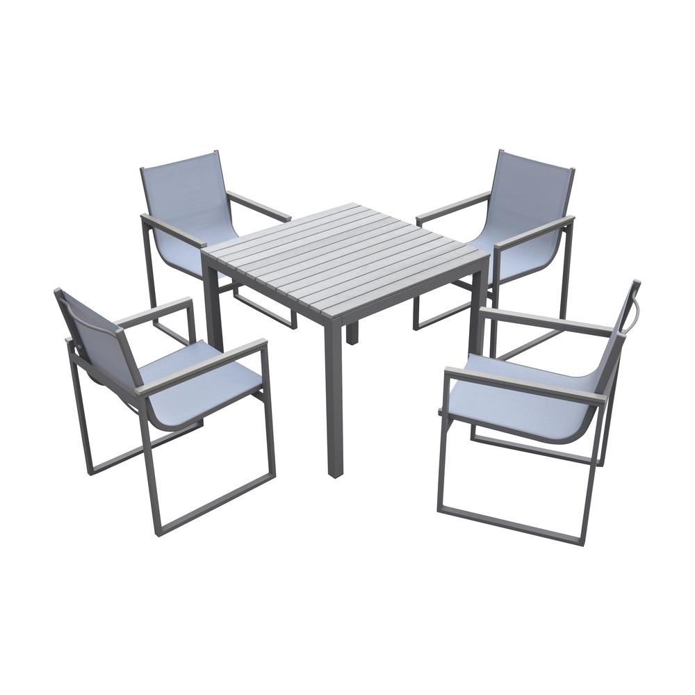 Dining Set Grey Powder Coated Finish (Table with 4 chairs). Picture 1