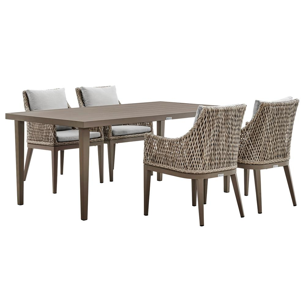 Grenada 5 Piece Gray Aluminum Outdoor Dining Set with Gray Fabric. Picture 1