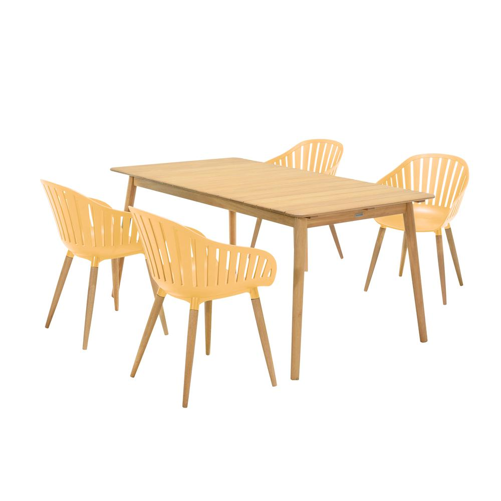 Nassau 5 piece Outdoor Dining Set in Natural Wood Finish Table and Honey Yellow Arm Chairs. Picture 1