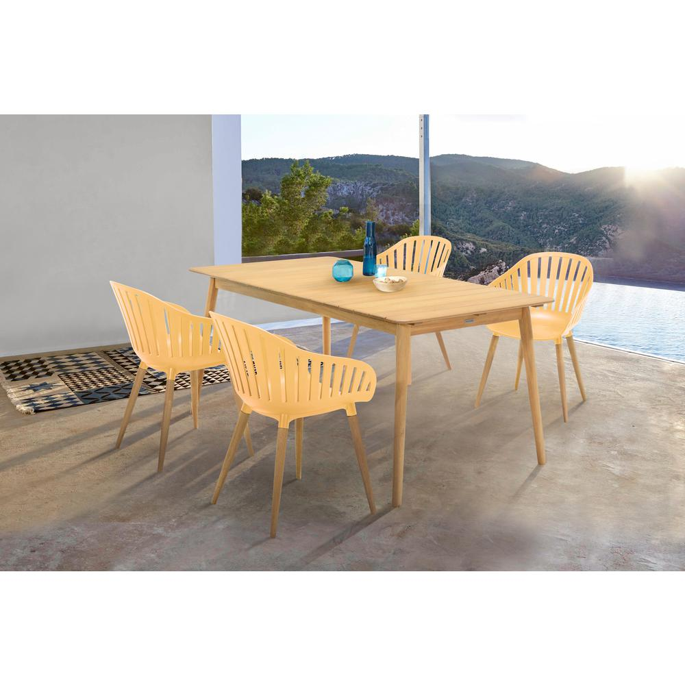 Nassau 5 piece Outdoor Dining Set in Natural Wood Finish Table and Honey Yellow Arm Chairs. Picture 8