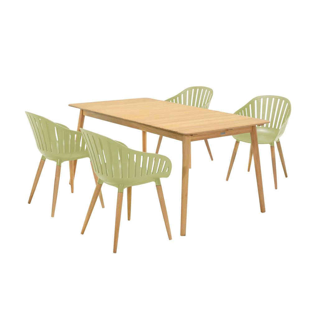 Nassau 5 piece Outdoor Dining Set in Natural Wood Finish Table and Sage Green Arm Chairs. Picture 1