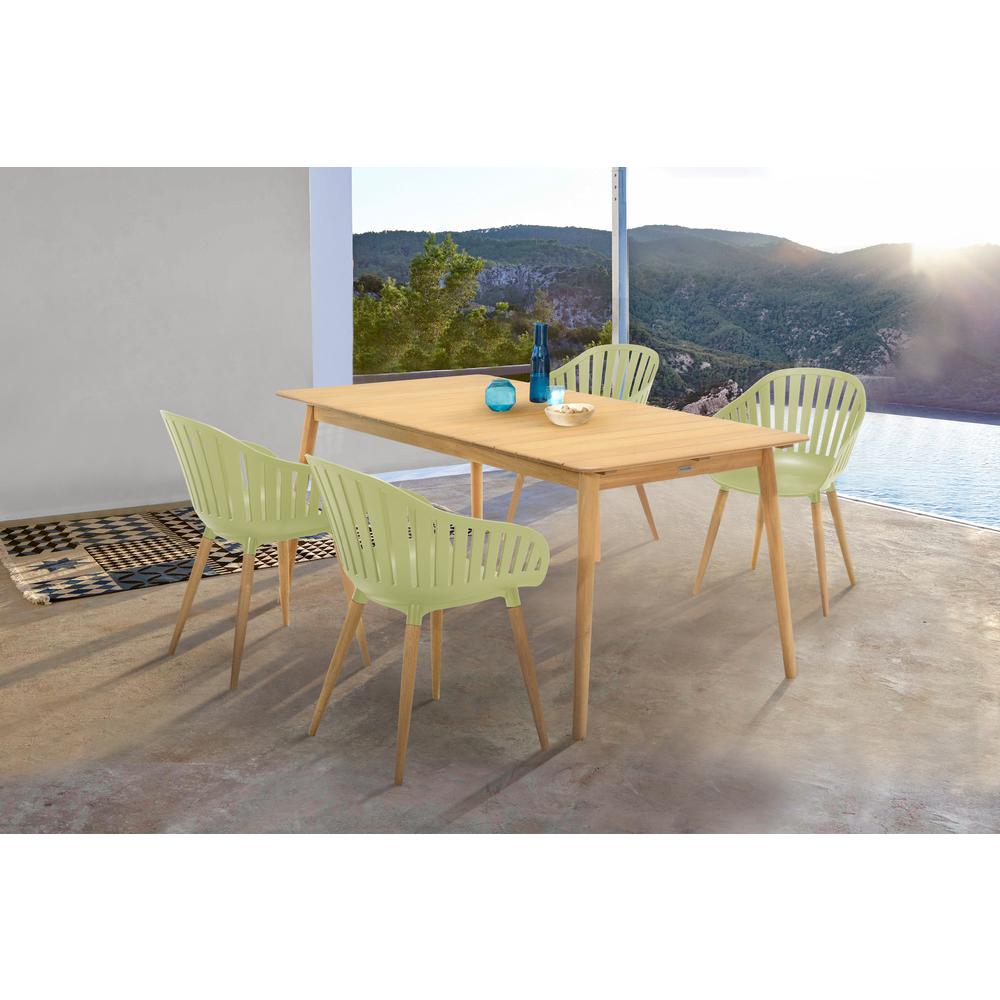 Nassau 5 piece Outdoor Dining Set in Natural Wood Finish Table and Sage Green Arm Chairs. Picture 8