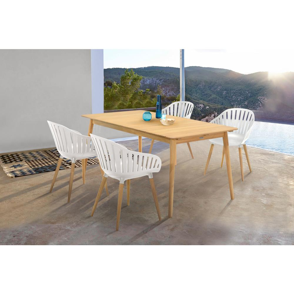 Nassau 5 piece Outdoor Dining Set in Natural Wood Finish Table and Sand Taupe Arm Chairs. Picture 8