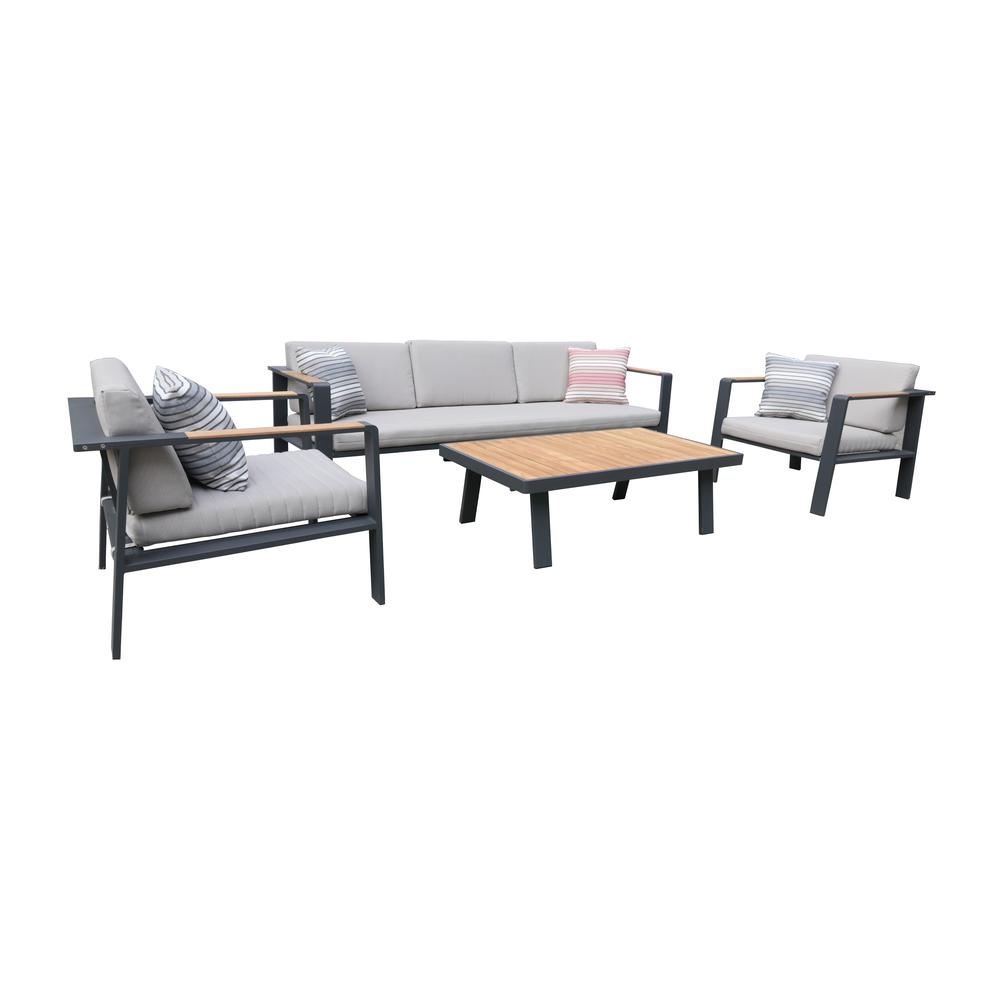 LivingNofi 4 pieceOutdoor Patio Set in Gray Finish with Taupe Cushions andTeak Wood. Picture 1
