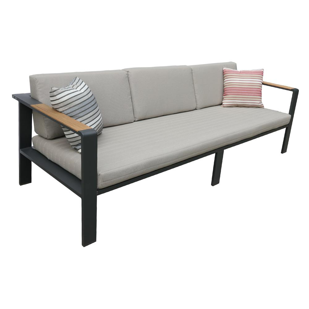 LivingNofi 4 pieceOutdoor Patio Set in Gray Finish with Taupe Cushions andTeak Wood. Picture 2