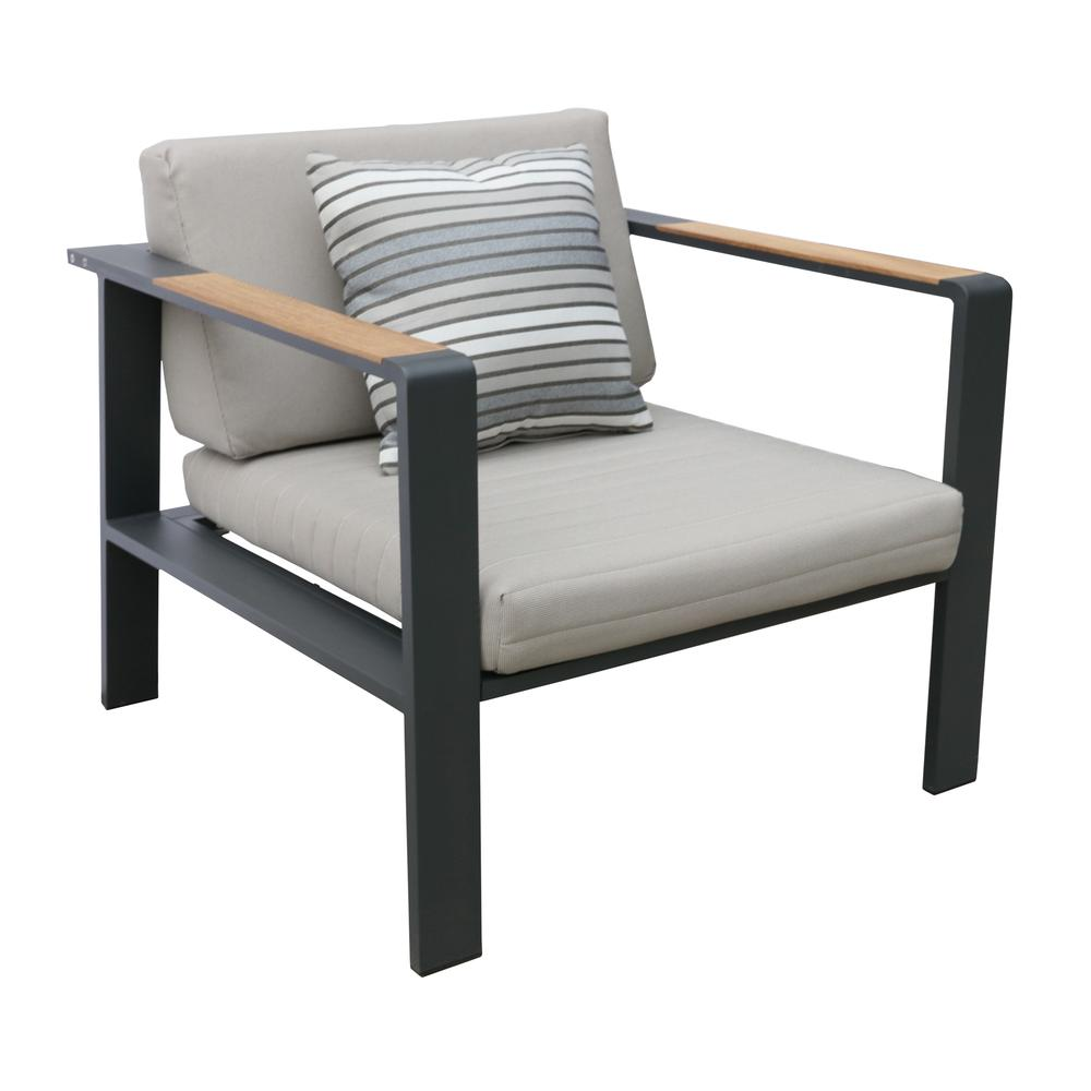LivingNofi 4 pieceOutdoor Patio Set in Gray Finish with Taupe Cushions andTeak Wood. Picture 3