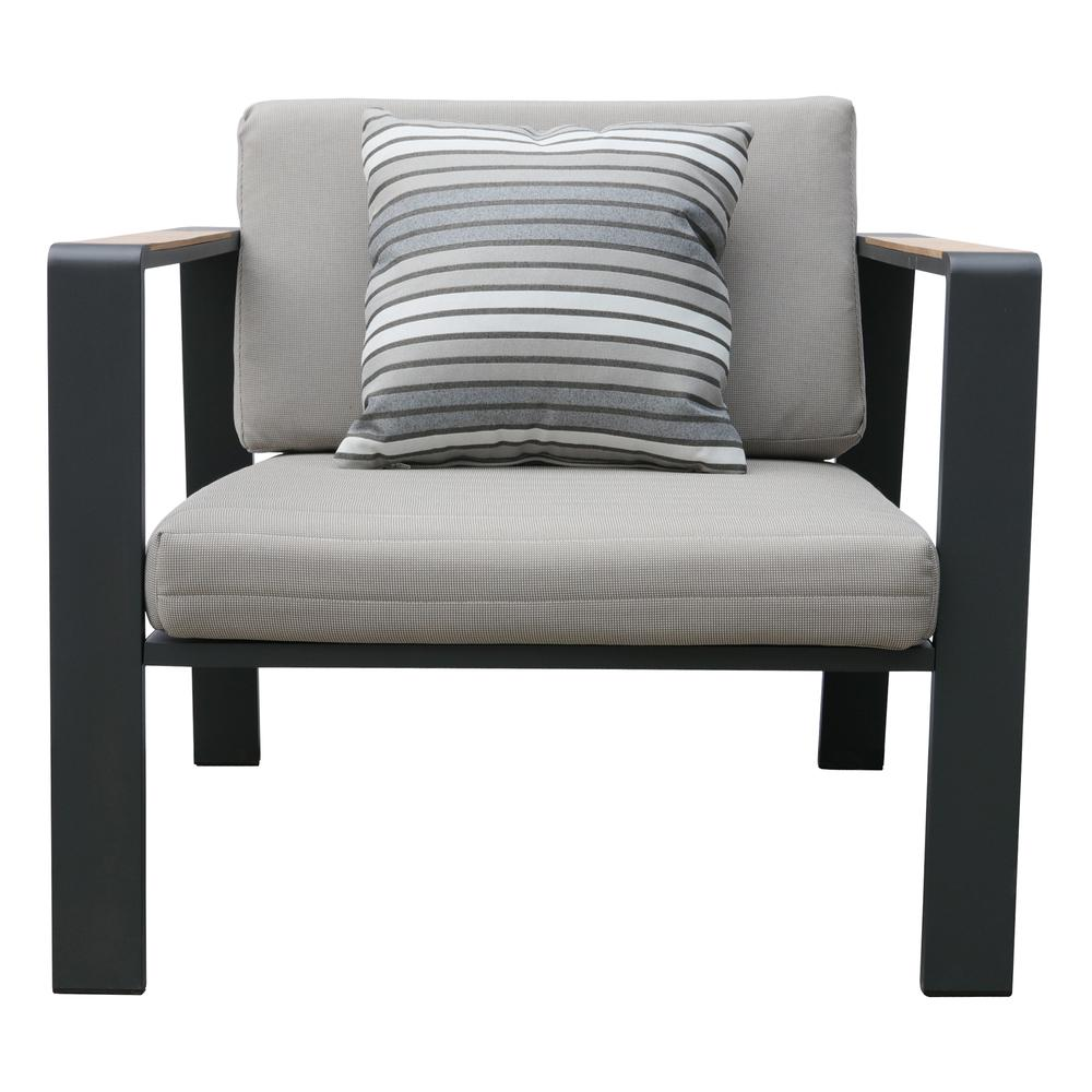 LivingNofi 4 pieceOutdoor Patio Set in Gray Finish with Taupe Cushions andTeak Wood. Picture 4