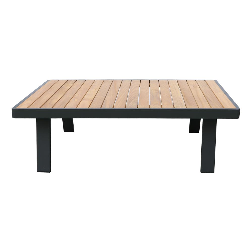 LivingNofi 4 pieceOutdoor Patio Set in Gray Finish with Taupe Cushions andTeak Wood. Picture 5