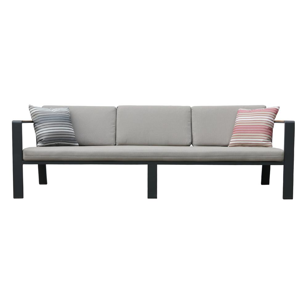 LivingNofi 4 pieceOutdoor Patio Set in Gray Finish with Taupe Cushions andTeak Wood. Picture 6
