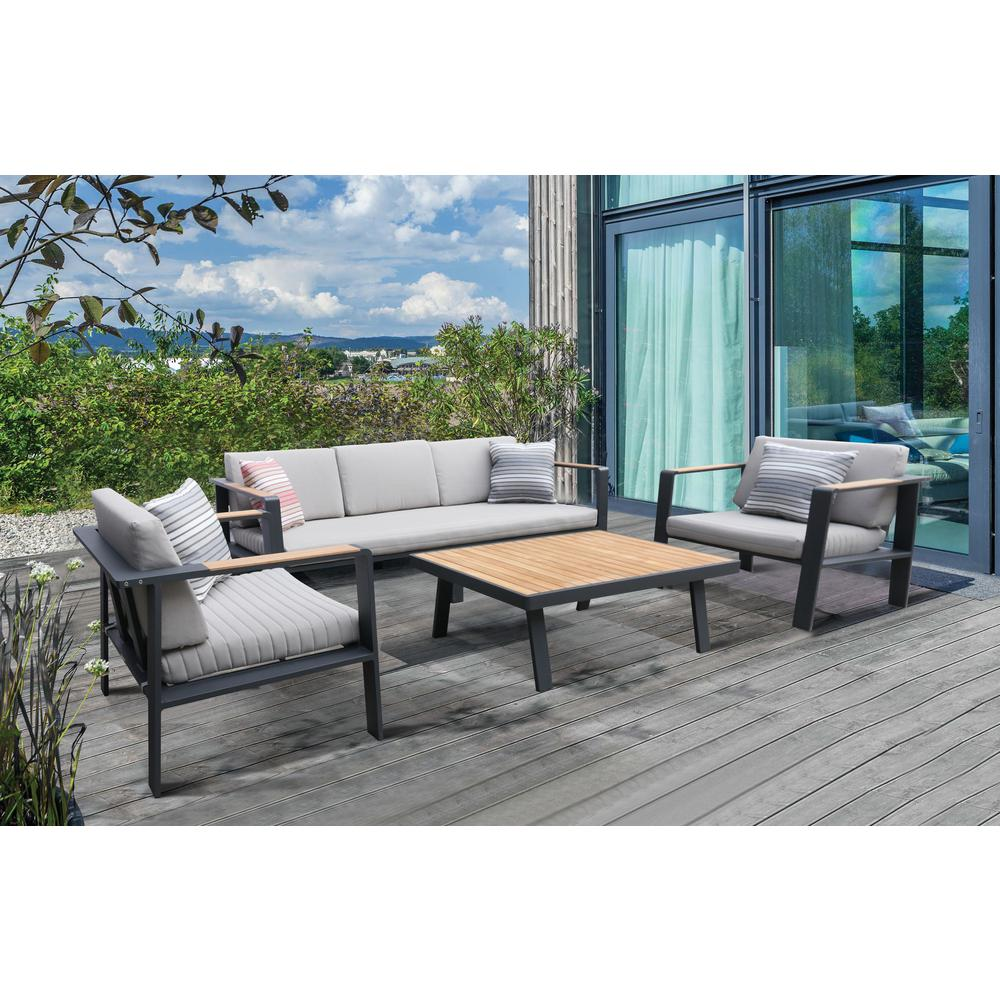 LivingNofi 4 pieceOutdoor Patio Set in Gray Finish with Taupe Cushions andTeak Wood. Picture 7