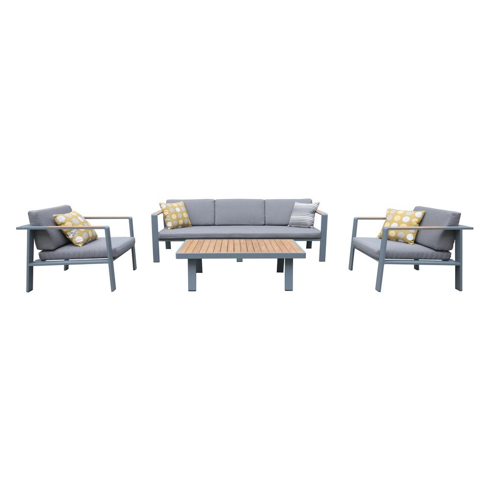 4 pieceOutdoor Patio Set in Charcoal Finish with Gray Cushions and Teak Wood. Picture 1