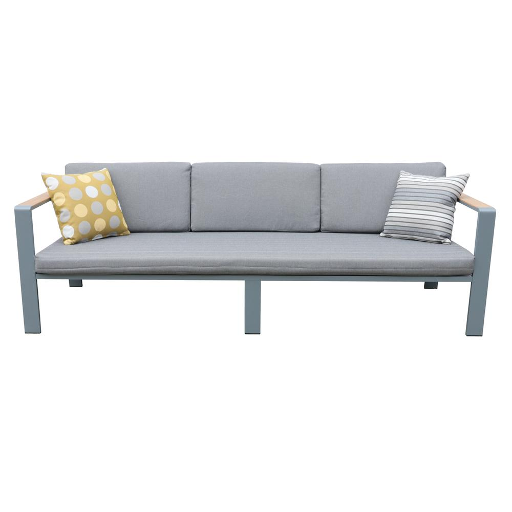 Nofi 4 pieceOutdoor Patio Set in Charcoal Finish with Gray Cushions and Teak Wood. Picture 2