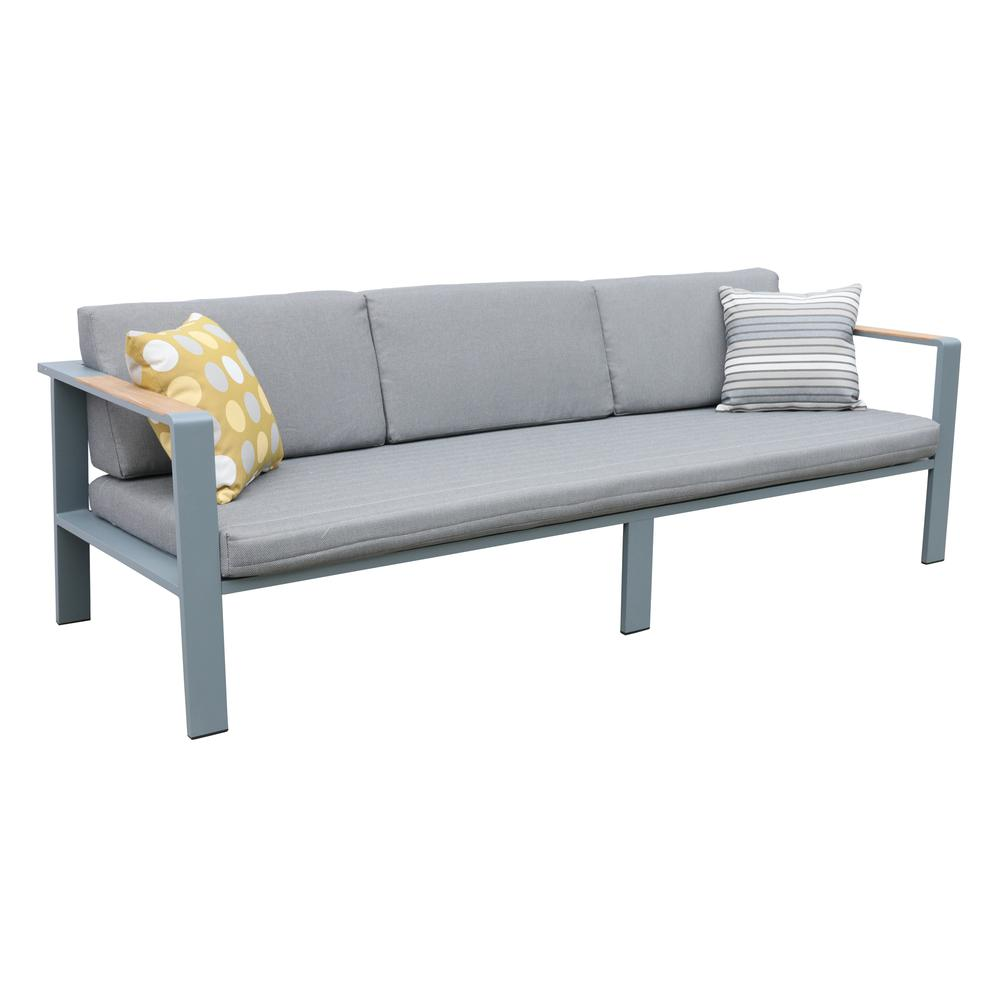 4 pieceOutdoor Patio Set in Charcoal Finish with Gray Cushions and Teak Wood. Picture 3