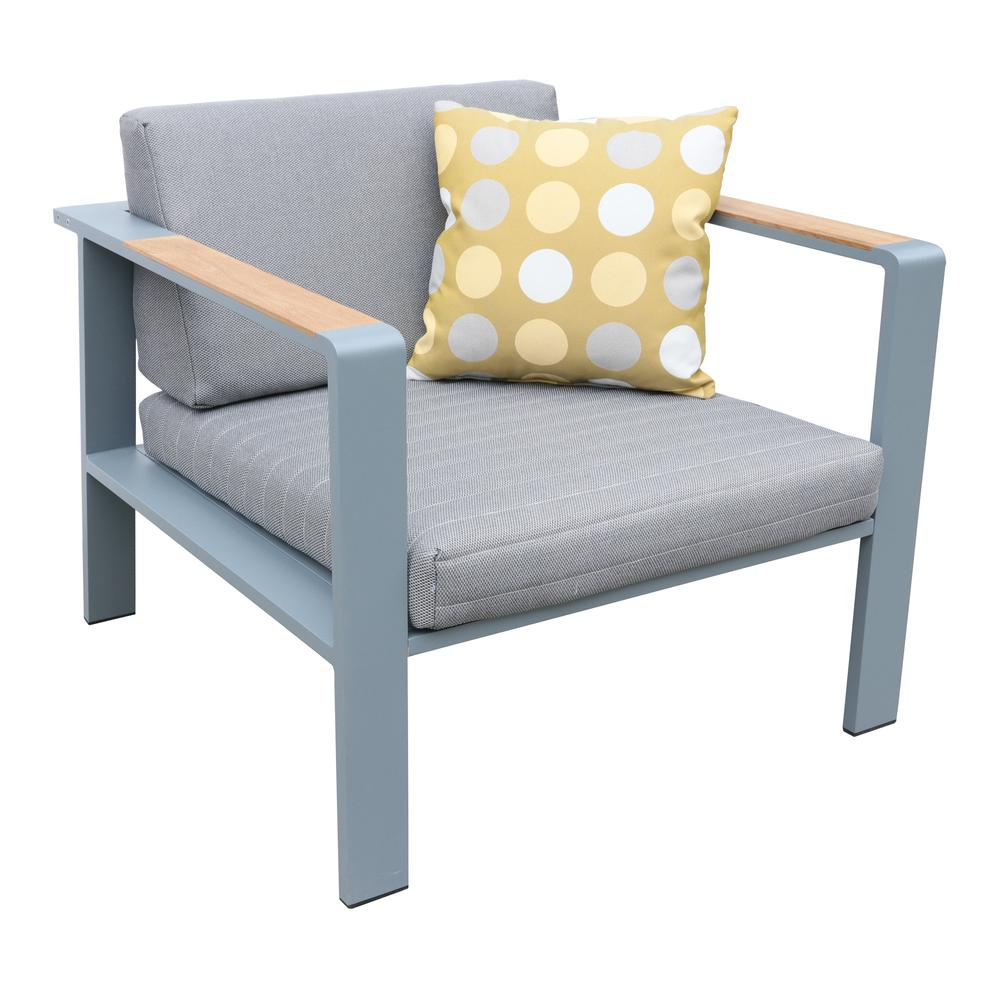 Nofi 4 pieceOutdoor Patio Set in Charcoal Finish with Gray Cushions and Teak Wood. Picture 5