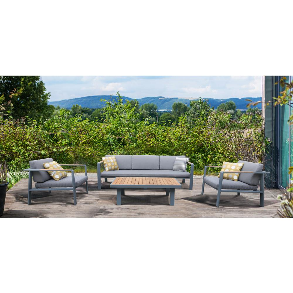 4 pieceOutdoor Patio Set in Charcoal Finish with Gray Cushions and Teak Wood. Picture 6