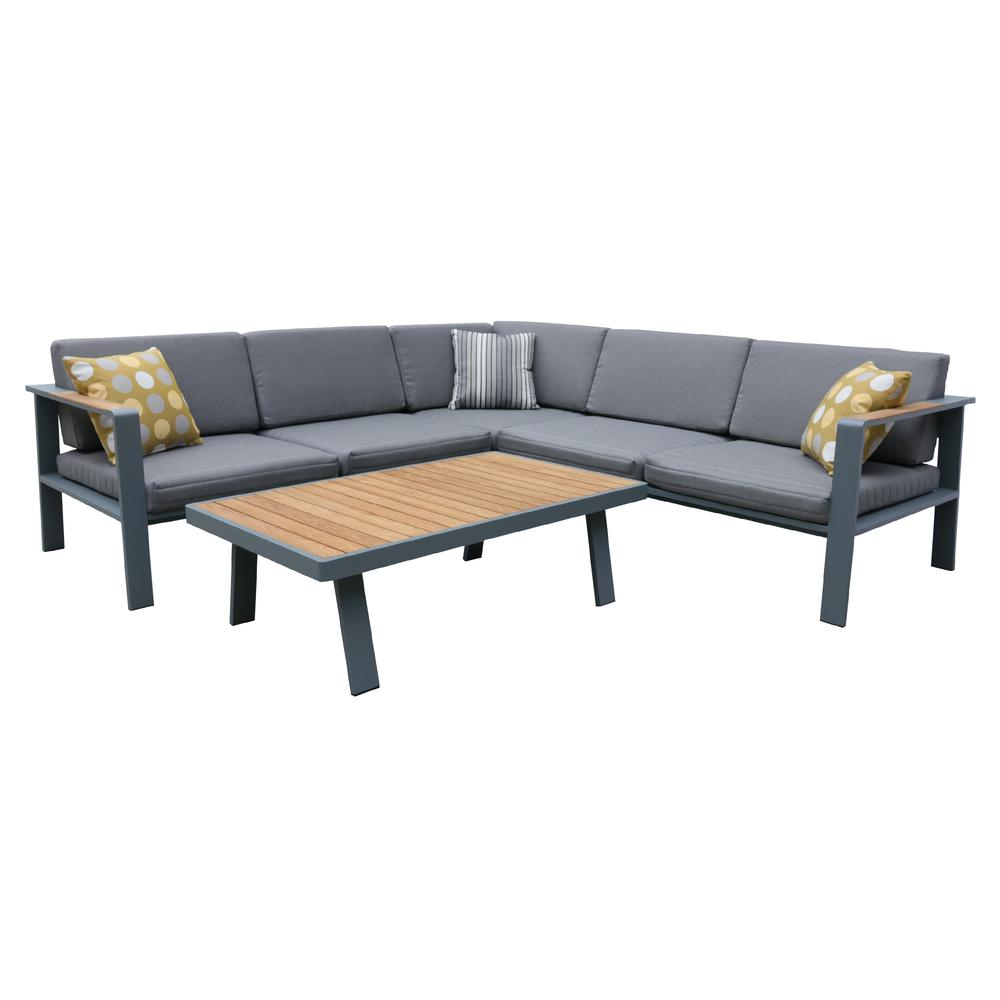 Outdoor Patio Sectional Set in Charcoal Finish with Gray Cushions and Teak Wood. Picture 1