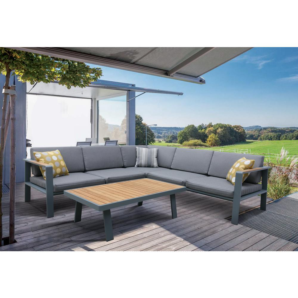 Outdoor Patio Sectional Set in Charcoal Finish with Gray Cushions and Teak Wood. Picture 3