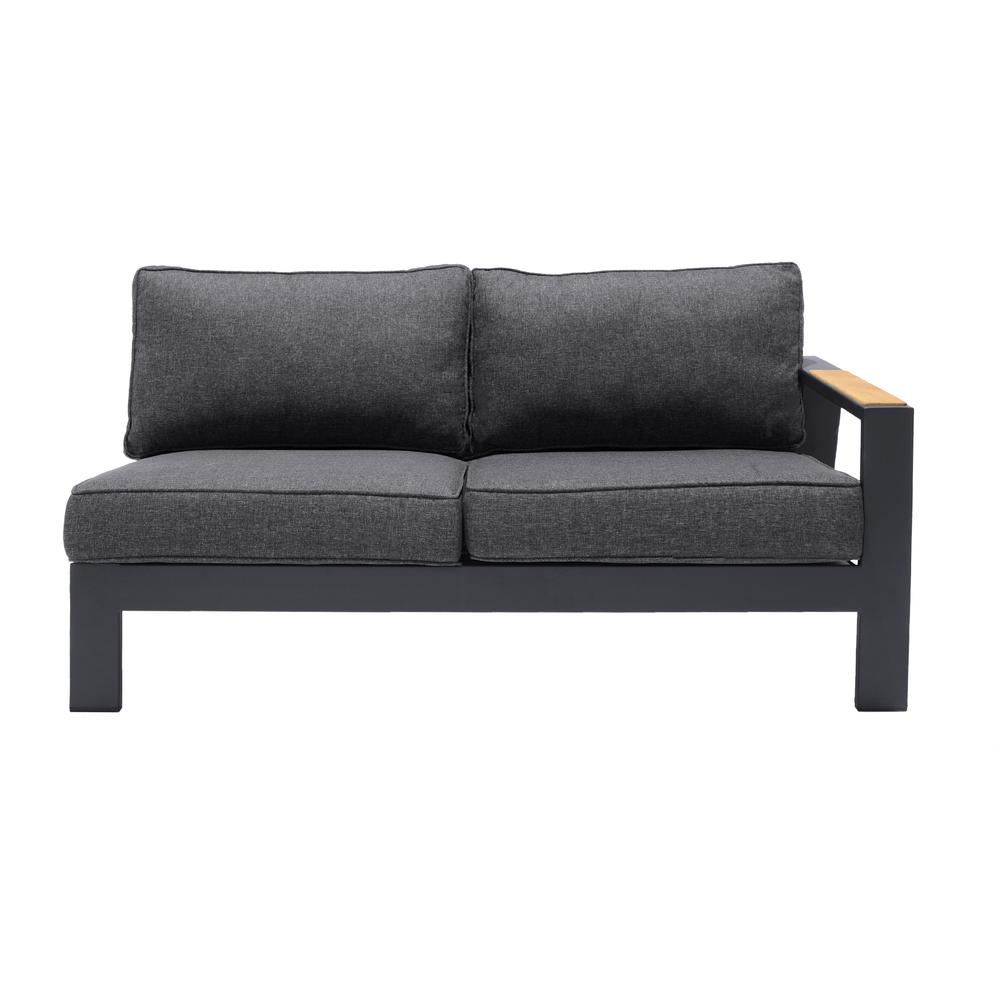 Palau 4 Piece Outdoor Sectional Set with Cushions in Dark Grey and Natural Teak Wood Accent. Picture 2