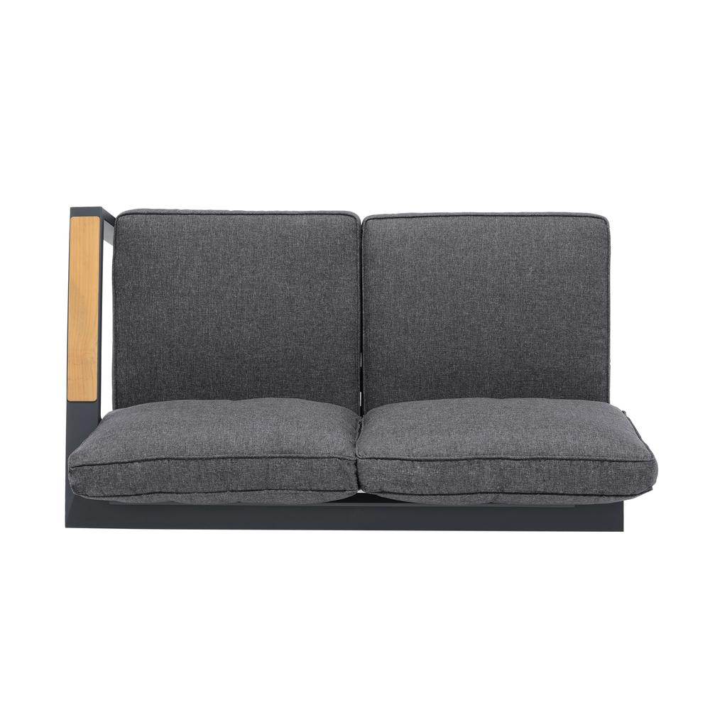 Palau 4 Piece Outdoor Sectional Set with Cushions in Dark Grey and Natural Teak Wood Accent. Picture 4