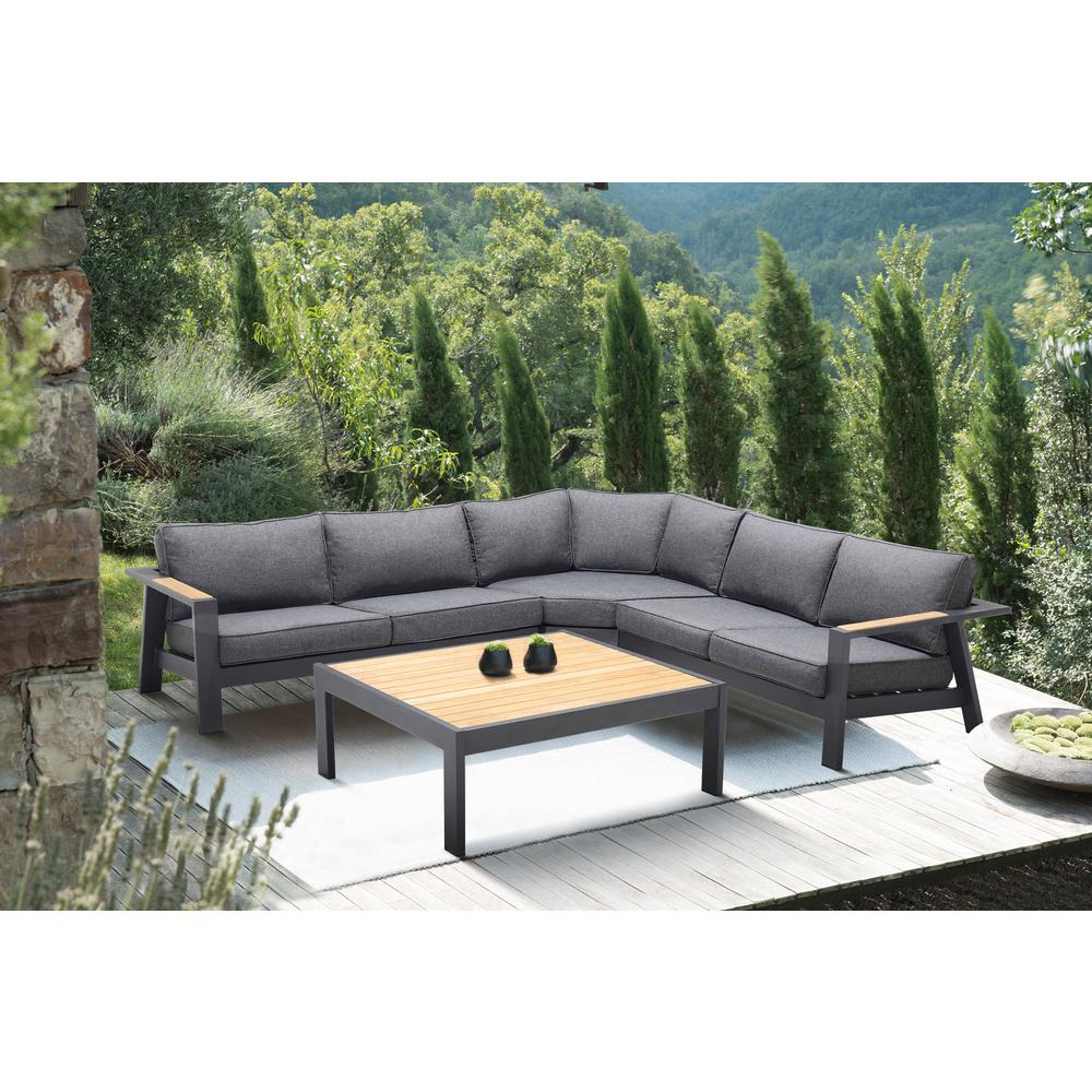 Palau 4 Piece Outdoor Sectional Set with Cushions in Dark Grey and Natural Teak Wood Accent. Picture 8