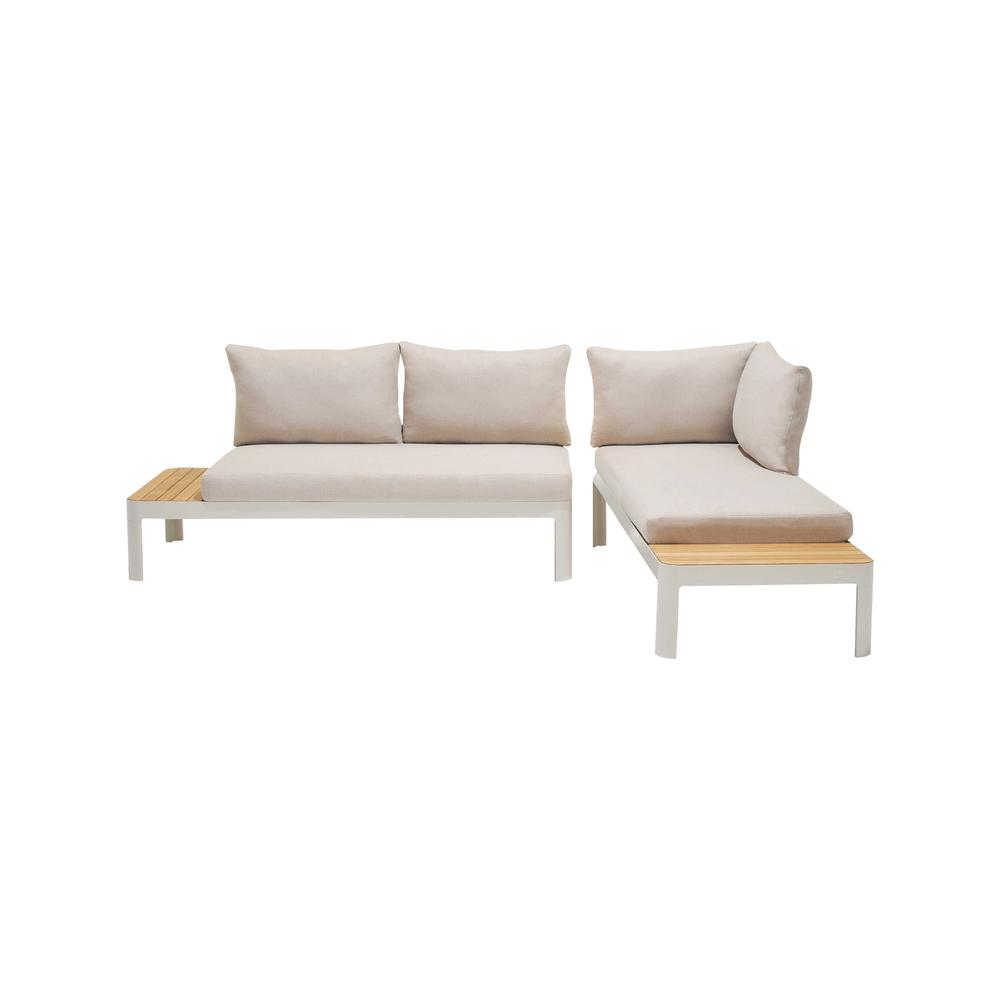 Portals Outdoor 2 Piece Sofa Set in Light Matte Sand Finish with BeigeCushions and Natural Teak Wood Accent. Picture 1