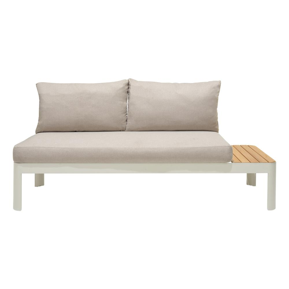 Portals Outdoor 2 Piece Sofa Set in Light Matte Sand Finish with BeigeCushions and Natural Teak Wood Accent. Picture 4