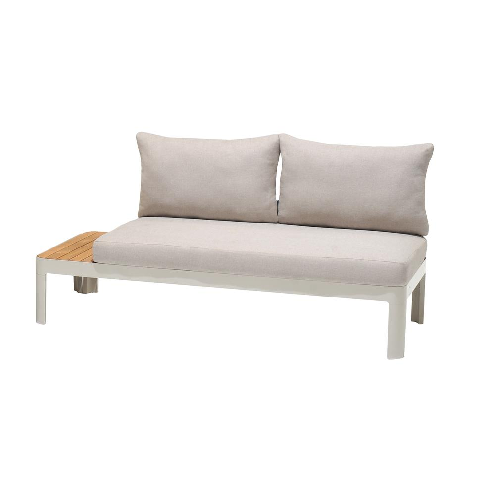 Portals Outdoor 2 Piece Sofa Set in Light Matte Sand Finish with BeigeCushions and Natural Teak Wood Accent. Picture 5