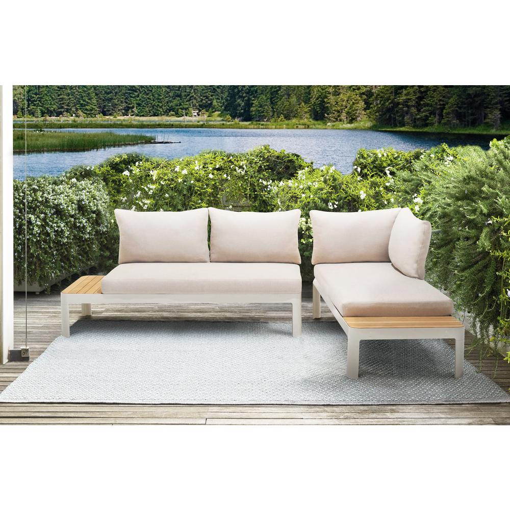 Portals Outdoor 2 Piece Sofa Set in Light Matte Sand Finish with BeigeCushions and Natural Teak Wood Accent. Picture 6