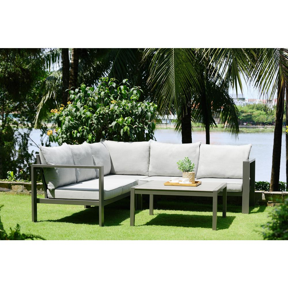 Solana Outdoor Sectional Set in Cosmos Finish with Grey Cushions and Coffee Table. Picture 1
