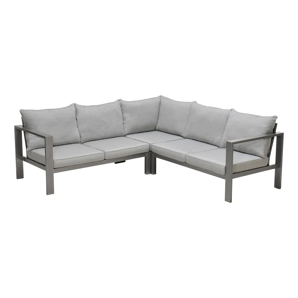 Solana Outdoor Sectional Set in Cosmos Finish with Grey Cushions and Coffee Table. Picture 2