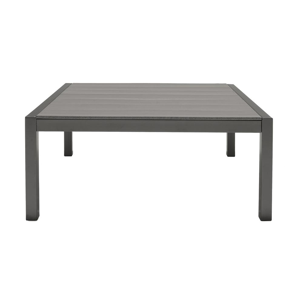 Solana Outdoor Sectional Set in Cosmos Finish with Grey Cushions and Coffee Table. Picture 4