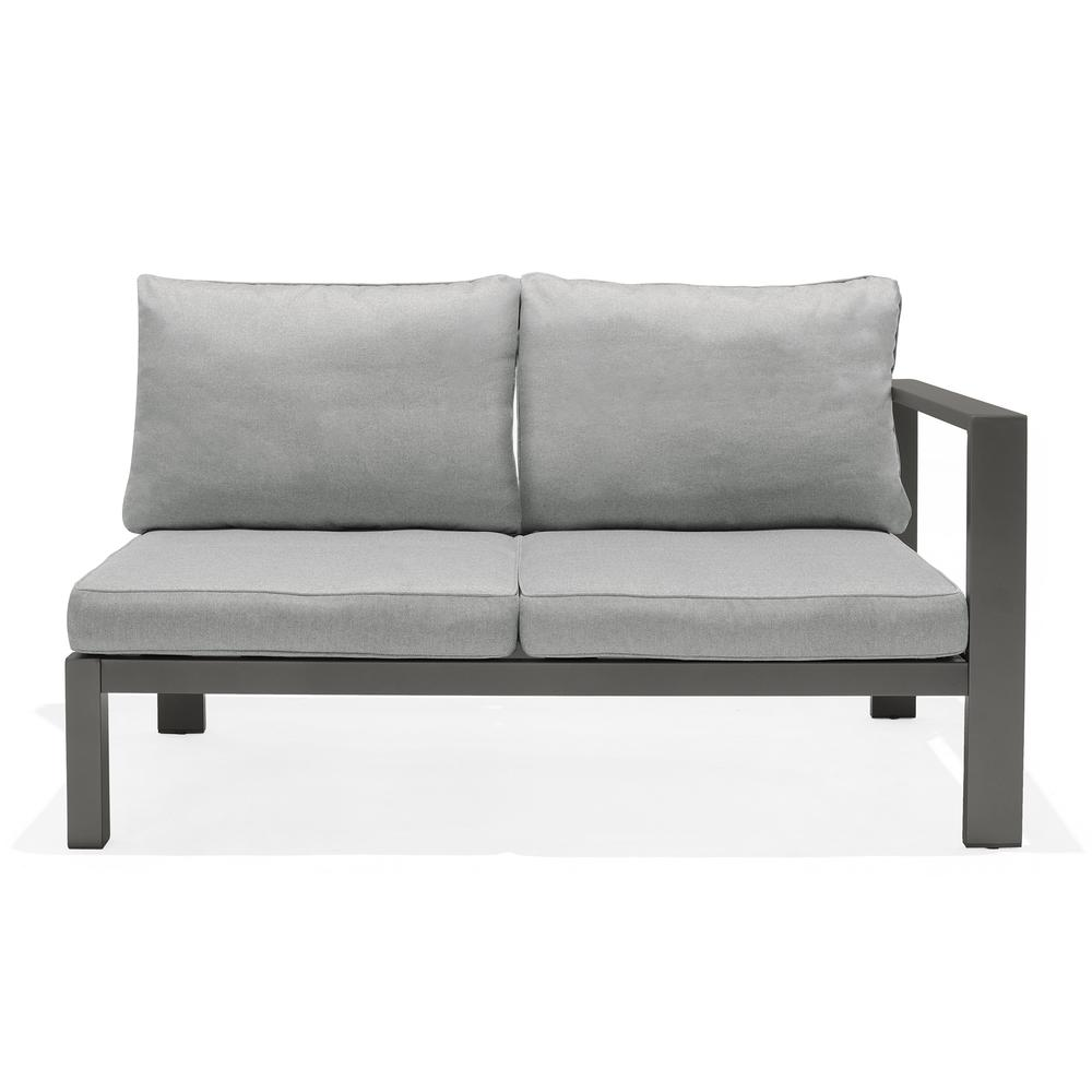 Solana Outdoor Sectional Set in Cosmos Finish with Grey Cushions and Coffee Table. Picture 5