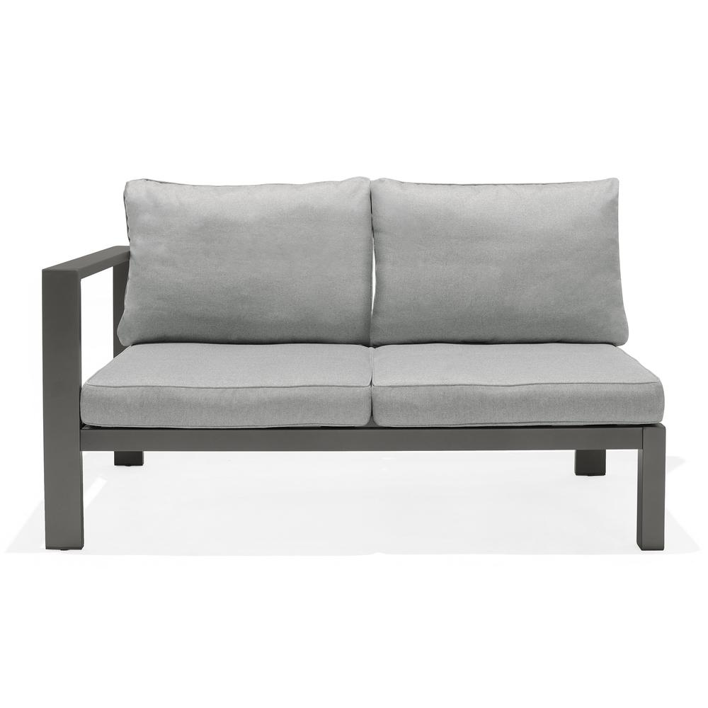Solana Outdoor Sectional Set in Cosmos Finish with Grey Cushions and Coffee Table. Picture 6