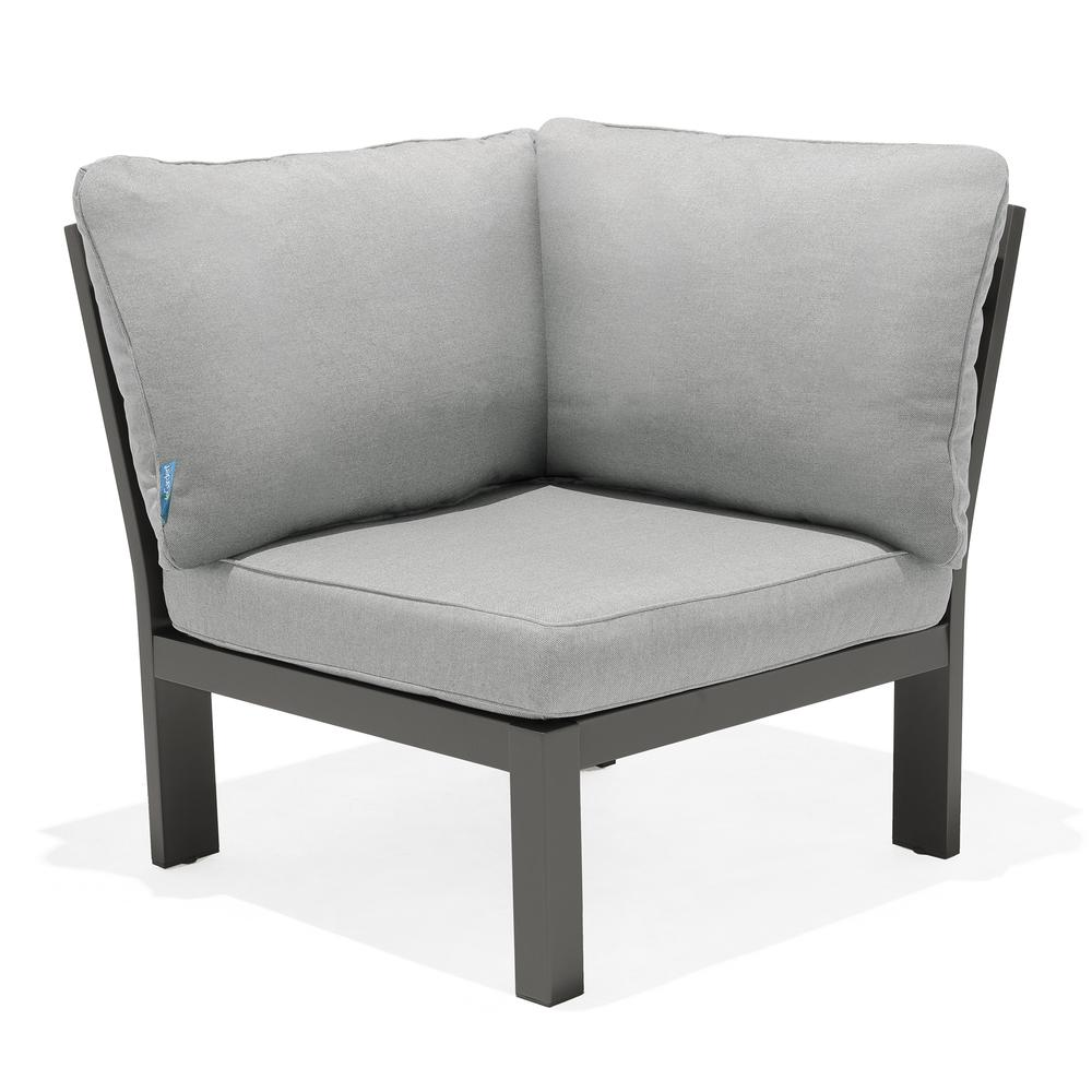 Solana Outdoor Sectional Set in Cosmos Finish with Grey Cushions and Coffee Table. Picture 7