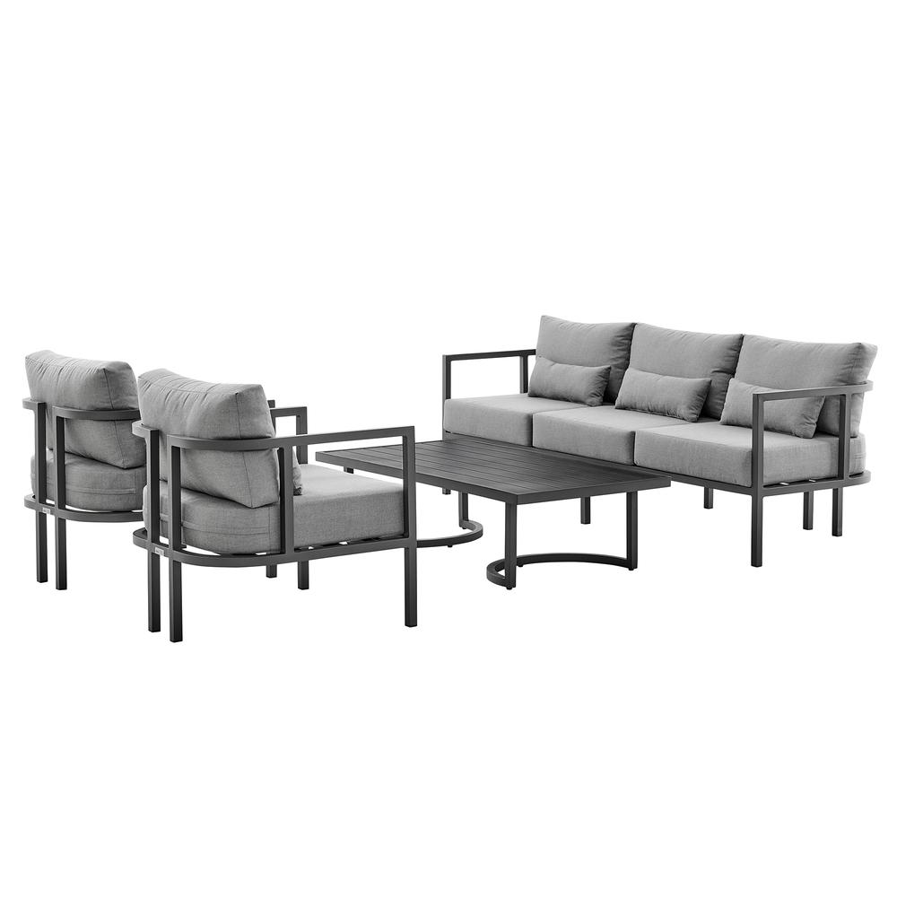 Valentina 4 Piece Dark Gray Aluminum Outdoor Seating Set with Dark Gray Cushions. Picture 1