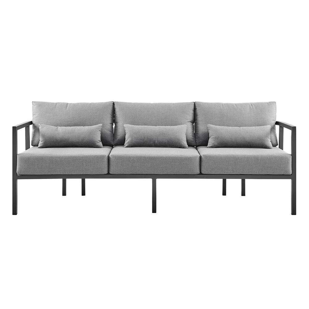 Valentina 4 Piece Dark Gray Aluminum Outdoor Seating Set with Dark Gray Cushions. Picture 2
