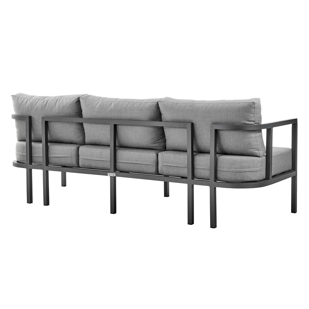 Valentina 4 Piece Dark Gray Aluminum Outdoor Seating Set with Dark Gray Cushions. Picture 3