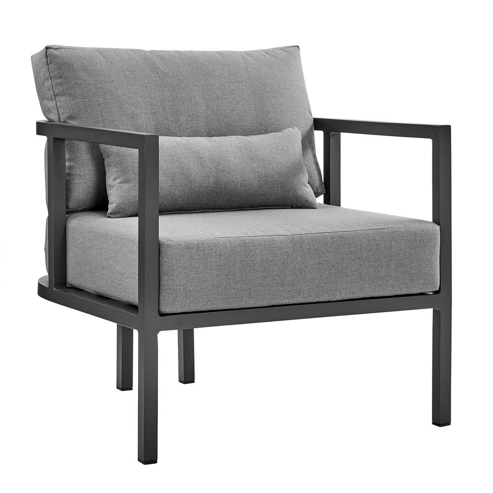 Valentina 4 Piece Dark Gray Aluminum Outdoor Seating Set with Dark Gray Cushions. Picture 4