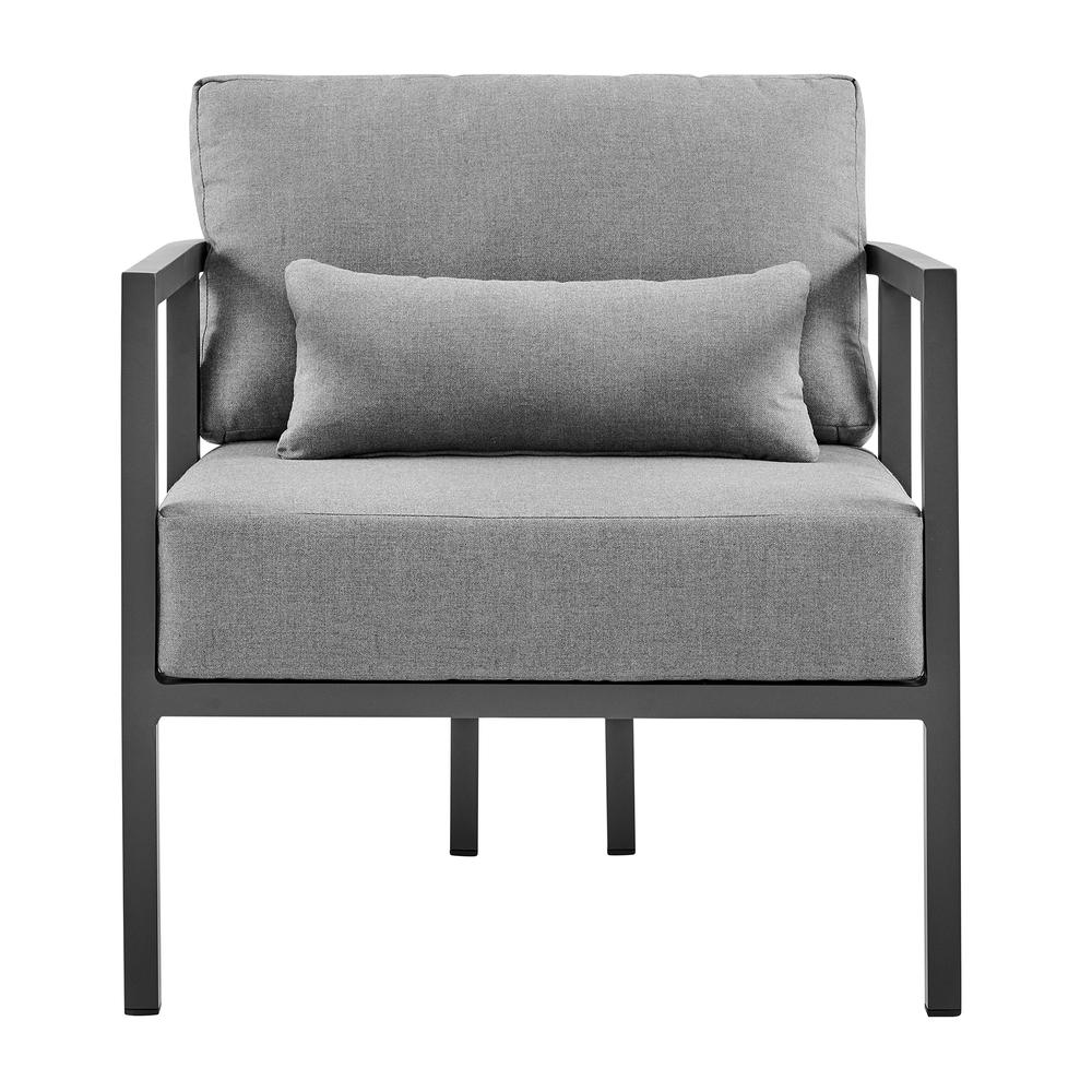 Valentina 4 Piece Dark Gray Aluminum Outdoor Seating Set with Dark Gray Cushions. Picture 5