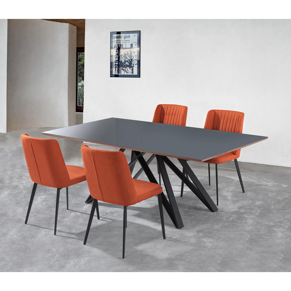 Contemporary Grey Glass 5 Piece, Metal Dining Set. Picture 1
