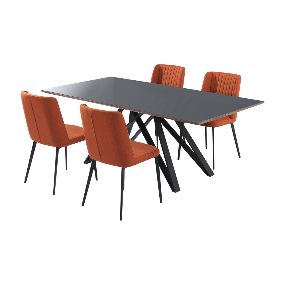 Contemporary Grey Glass 5 Piece, Metal Dining Set. Picture 2